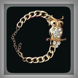 Jewelry - Owl Bracelet -Adorable Gold Color Metal & Crystal